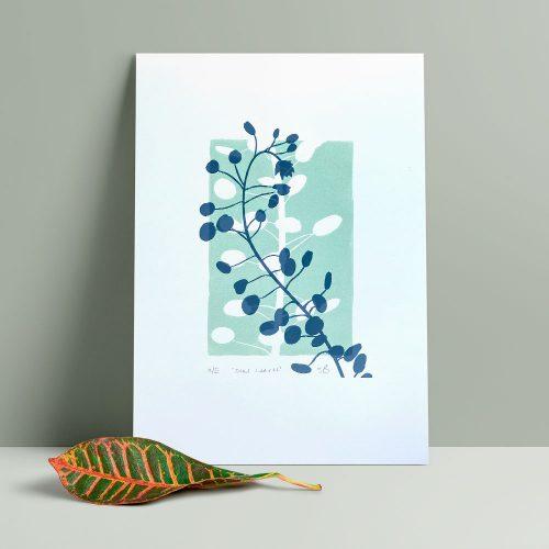 Edy & Fig 'oval leaves' A4 lino print