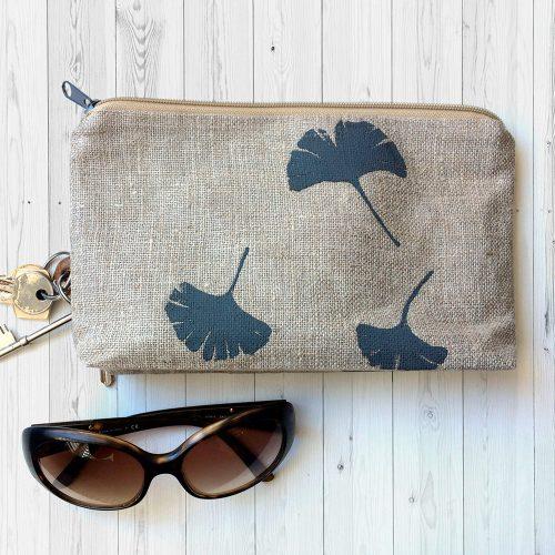 Gingko leaf linen clutch bag