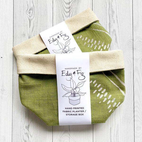 Edy & Fig - green fabric planter storage box UK