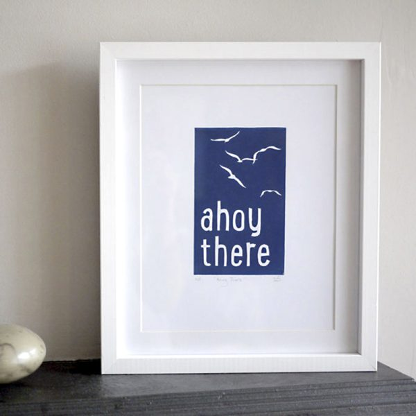 Edy & Fig 'ahoy there' A4 lino print