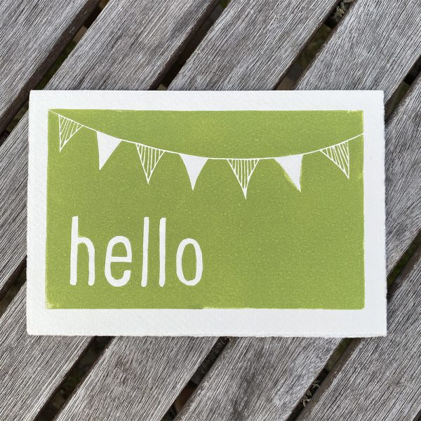 Edy & Fig 'hello' lino print greeting cards, made in UK
