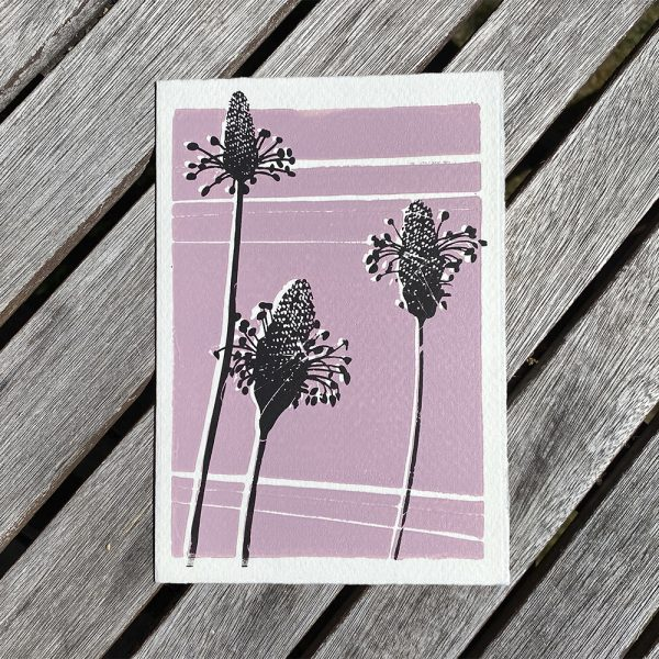 Edy & Fig flower greeting card in pink