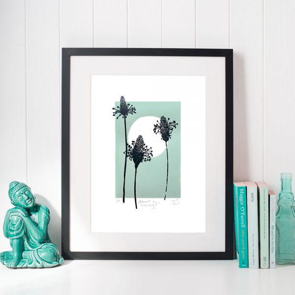 Edy & Fig 'Ribwort in Moonlight' A4 lino print