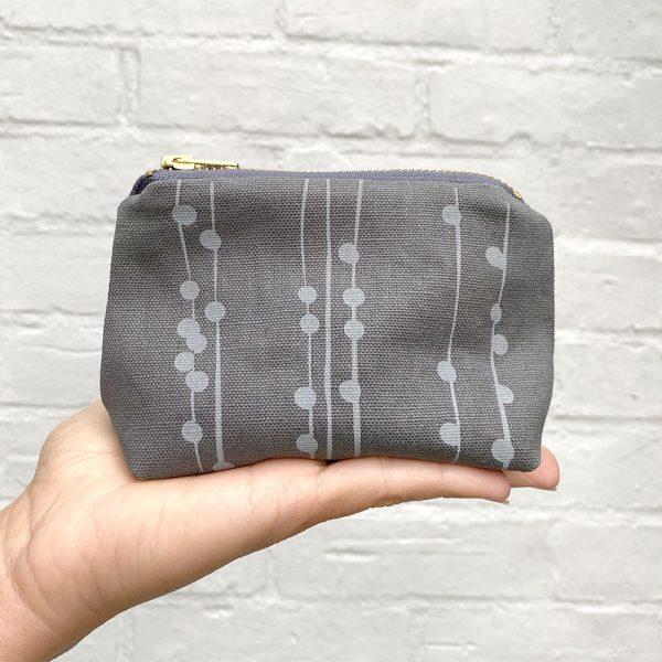Handcrafted hemp purse with elegant screen printed pattern