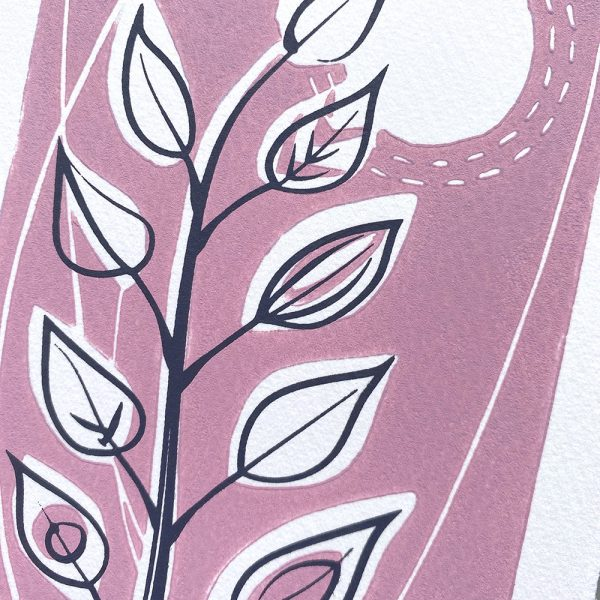 Lino print greeting card in pink