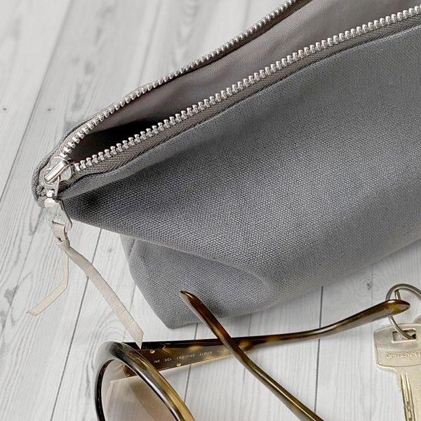 Organic hemp and cotton canvas clutch bag