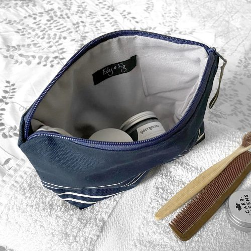 Cotton canvas navy accessories pouch