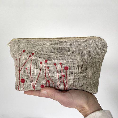 Natural linen fabric pouch - handmade in Kent
