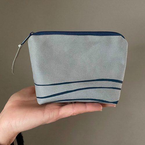 Handmade cotton canvas wave print purse